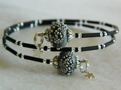 Black and White Bracelet Silver Star Charms handcrafted beads #IBHandmade #It's Better Handmade www.facebook.com/... $23.00