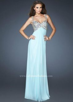 Ice Blue Beaded Top Chiffon Long Prom Dress With Straps