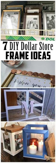 make so much with 1 frames Check out these 7 neat DIY ideas that can be town together using dollar store framesYou can make so much with 1 frames Check out these 7 neat D. Dollar Tree Decor, Dollar Tree Crafts, Dollar Tree Cricut, Diy Simple, Easy Diy, Diy Projects To Try, Craft Projects, House Projects, Garden Projects