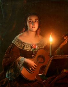 Woman Playing Guitar -19thC- Petrus van Schendel