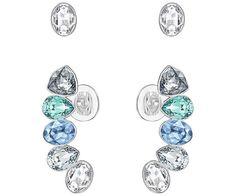 51a2284be Swarovski Silver-Tone Blue Crystal Stud Earrings and Ear Climber Set
