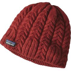 Patagonia Women's Cable Beanie (20.670 CLP) ❤ liked on Polyvore featuring accessories, hats, hair accessories, cinder red, red hat, cable knit beanie hat, beanie hat, patagonia beanie and cable knit beanie