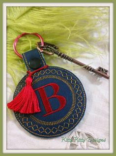 Elegant key fob for you to make inside your hoop! Twenty-six letters in one set. These are a great hit! - Design fits the 4x4 hoop size or larger. - Machine formats included: DST, EXP, PES, JEF, HUS,