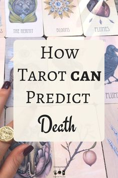 The top 10 tarot cards which predict death and dying for beginners and pro readers alike! If you're learning Tarot some may have told you that no deck has the meaning of death, they do! This cheat sheet and post explains how to answer the questions of death. - Divination and Fortune Telling