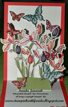 www.stampinkwithfarida.blogspot.com Stampin' Up! Backyard Basics, Peaceful Petals, Happy Watercolor, Papillon Potpourri