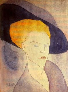 1907-Mujer con sombrero-Modigliani, Amedeo
