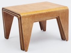 "Stacking Tables      			 Marcel Breuer (American, born Hungary. 1902–1981)      			   	              	              	         	1936. Laminated plywood, birch veneer, .1: 24 x 17 1/2 x 14 1/2"" (61 x 44.5 x 36.8 cm) .2: 24 x 16 x 13 3/4"" (61 x 40.6 x 35 cm) .3: 24 x 15 x 13"" (61 x 38.2 x 33 cm). Manufactured by Venesta, Estonia and The Isokon Furniture Company, London"