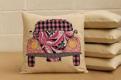 VW Beetle Cushion in Pink & Black