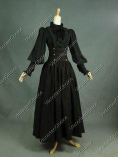 Victorian Edwardian Penny Dreadful Dark Witch Steampunk 2-PC Theater Vampire Halloween Costume