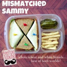 fun mismatched sandwiches for packed for lunch!
