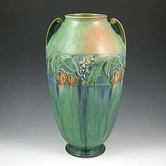 """""""This Roseville Baneda vase (form no. 600) accomplished a price of $2,400 at Belhorn Auction Services' Nov. 15 American Art Pottery Auction"""" (Antique Trader)."""