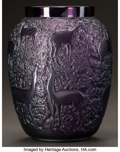 Art Glass:Lalique, LALIQUE AMETHYST GLASS BICHES VASE WITH WHITE PATINA. Post1945. Engraved Lalique, France. Ht. 6-7/8 in.. ...