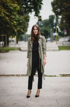 Black and military green go together like peas and carrots as far as I'm concerned. Get out those basic black ankle pants, your everyday pumps, and your go-to black blouse/top to pull this look together. Add in some color via your makeup, some statement jewelry, or make the black pump a colorful pump instead. The military green trench brings everything together. #whattowear #weartowork #thestyleshaker source:grazia.it