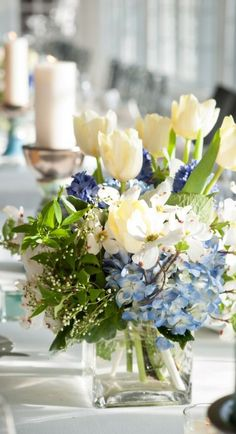 Gorgeous hydrangea and tulip centerpiece inspiration.