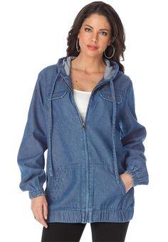 5e7de50335e Roamans Women s Plus Size Hooded Denim Jacket -- This is an Amazon  Affiliate link.