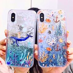 This cute phone case featuring a cat riding a blue whale under the sea has got to be the trippiest you've seen. Packed with high-definition dynamic glitter, this case is guaranteed to mesmerize! Ideal for iPhone X/XR/XS/Max, Max) & Samsung Note models. Glitter Phone Cases, Diy Phone Case, Cute Phone Cases, Iphone Phone Cases, Phone Covers, Modelos Iphone, Aesthetic Phone Case, Quad, Best Phone
