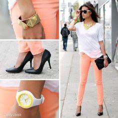 Peach Jeans=summer must have Coral Pants, Orange Pants, Bright Pants, Gold Pumps, Black Pumps, White Statement Necklaces, Yellow Clothes, Kinds Of Clothes, Urban