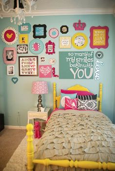 Find different frames at thrift stores and spray paint different colors to create a collage.