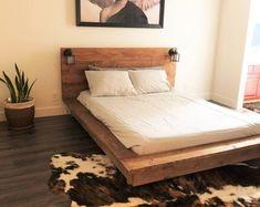 Floating Wood Platform Bed frame with Lighted Headboard-Quilmes Floating Platform Bed, Floating Bed, Wood Platform Bed, Full Bed Frame, Diy Bed Frame, Bed Frames, Real Wood Furniture, Bedroom Furniture, Modular Furniture
