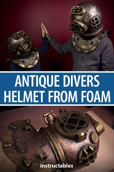 Make an antique sea divers helmet from EVA foam. It is modeled after the classic Mark V dive helmet that is commonly associated with the image of divers.  #prop #mask #Halloween #cosplay #costume #retro #recreation #replica