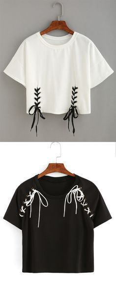 nice Double Lace-Up Hem Crop T-shirt