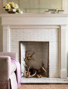 Subway tile fireplace.