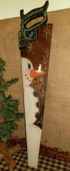 PRIMITIVE WOOD VINTAGE HAND SAW HAND PAINTED SNOWMAN CHRISTMAS COUNTRY DECOR | Antiques, Primitives | eBay!