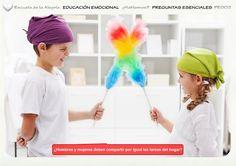 Programación del Área de Educación Emocional. Colección Preguntas Esenciales 2. Escuela de la Alegría   EDUCACIÓN EMOCIONAL   ¿Hablamos?    PREGUNTAS ESENCIALES  PE002  IGUALDAD NIÑOS Y NIÑAS  ¿Hombres y mujeres deben compartir por igual las tareas del hogar?