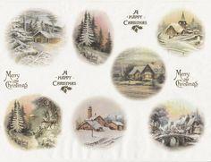 Rice paper -Winter Night Village- for Decoupage Scrapbooking Sheet