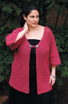 "Bam Boo Kimono Free Crochet Pattern. SIZES: Small (Medium, Large, Extra Large, 2X Large, 3X Large) Finished Measurements: 36 (40, 44, 48, 52, 56)"" To Fit measurements: 32 –34 (36 – 38, 40 – 42, 40 – 46, 48 – 50, 52 – 54)"" MATERIALS: Cotton Bam Boo by Classic Elite (52% cotton, 48% bamboo; 50 gram ball = approx 130 yards) • 10 (12, 13, 15, 16, 17) balls 3495 Privileged Plum Crochet Hook • One size US F/4 (3.75 mm) Or size to obtain gauge • Removable stitch markers • Tapestry needle •..."