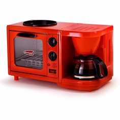 Toaster Oven Coffee Maker Combo Griddle 3-in-1 Mini Breakfast Shoppe Red NEW…