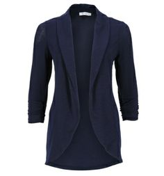 slub knit open shrug - in navy, black, or ivory - from rickis.com