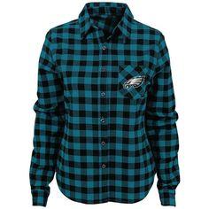 Juniors' Philadelphia Eagles Buffalo Plaid Flannel Shirt ($36) ❤ liked on Polyvore featuring green, long sleeve tops, blue shirt, blue top, blue long sleeve shirt and green long sleeve shirt