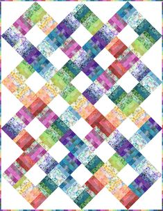 Garden of Dreams Color Weave Quilt Kit - 714329248806 Batik Quilts, Jellyroll Quilts, Scrappy Quilts, Easy Quilts, Bed Quilts, Strip Quilt Patterns, Jelly Roll Quilt Patterns, Quilting Projects, Quilting Designs