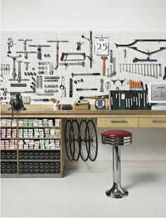 - * Two-Wheelers For Urbanistas - Super Functional Bicycle Parts, and Inspirational Photos - Garage Workshop Garage Bike, Bike Shed, Garage Shop, Bicycle Shop, Bike Store, Bicycle Tools, Bmx Bicycle, Workshop Storage, Garage Workshop