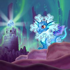 Snowflake Dragon in Child Form with Egg
