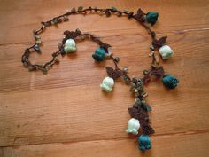 short crochet tulip necklace green by PashaBodrum on Etsy