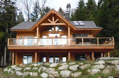 One of the quality home designs we show with pride Custom Home Designs, Custom Homes, Gambier Island, New Brighton, House Design Photos, Post And Beam, Tropical Houses, Log Homes, West Coast