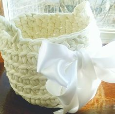 Hand made t-shirt yarn baskets in lovely colors! How To Make Tshirts, T Shirt Yarn, Baskets, Colors, Handmade, Beauty, Hand Made, Hampers, Basket