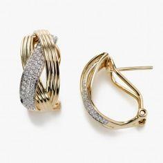 Triple Braid Diamond Earrings, 14K Yellow Gold