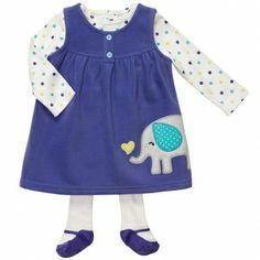carters baby | Carter's Girls Micro Fleece 3 Piece Jumper Set - Blue Elephant (12 ...