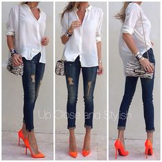 """Up Close and Stylish (@upcloseandstylish) """"Today - #Guess shirt, #Rag_Bone jeans, #Louboutin Pigalle 120mm and #Valentino clutch."""""""