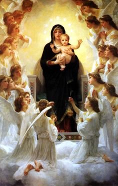 Mother Mary with Jesus and Angels.