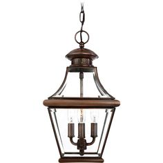 Quoizel Lighting Outdoor Hanging Light with Clear Glass in Aged Copper Finish | CAR1801AC | Destination Lighting