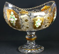 9-5-Tall-GORGEOUS-Czech-Bohemia-Crystal-Glass-Bowl-on-stem-with-gold-2