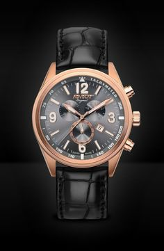 ADVOLAT VOYAGE Swiss Made Chronograph, Tachymeter, Stainless Steel Casing IP rose gold, Face gunmetal sunray, Leather Bracelet black, Ref. 88006/8RG-L2 Rolex Watches, Watches For Men, Gold Face, Limited Edition Watches, Saddle Leather, Watches Online, Stainless Steel Case, Chronograph, Omega Watch