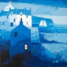 """Scottish Art Portfolio - George Birrell I really like this because the colours used are interesting and give the painting a """"cold"""" feel to it which reminds me of Scotland. Building Art, Naive Art, Art Portfolio, Urban Landscape, Art Plastique, Painting Inspiration, Art Images, Amazing Art, Abstract Art"""