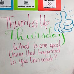 Our first Whiteboard Message inspired by today! The kids did a great job participating and it was so nice to hear them celebrate GOOD THINGS! We did our response on postits, so I is part of Whiteboard messages - Morning Meeting Activities, Morning Meetings, Morning Board, Morning Meeting Board, Daily Writing Prompts, Middle School Journal Prompts, Bell Work, Responsive Classroom, Middle School Teachers