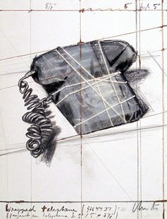 Early work by Christo began with small objects - here a wrapped phone