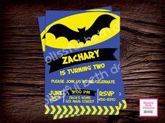 MODERN BATMAN INVITATION, Personalized Blue Batman Printable Birthday Invitation, Blue Batman, Batman Birthday, Bat Birthday, Batman by BlissfulBethDesigns on Etsy